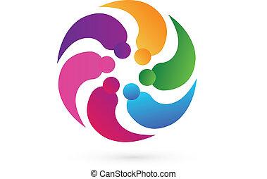 logotipo, vettore, lavoro squadra, persone, socio