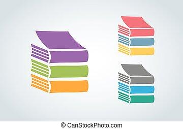 logotipo, vettore, libri, icona