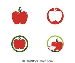 logotipo, vettore, mela, frutta, icona