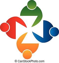 logotipo, vettore, persone riunione, lavoro squadra