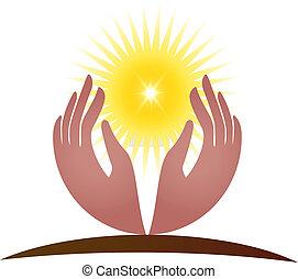 logotipo, vettore, speranza, luce sole, mani