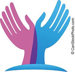 logotipo, vettore, speranzoso, mani