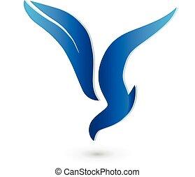 logotipo, vettore, uccello