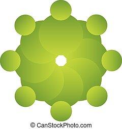 logotipo, vettore, verde, persone, lavoro squadra