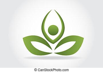 logotipo, yoga, foglia, persone