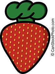 logotype, chef, fragola, tema, logotipo, cappello, cartone animato