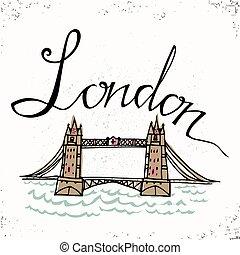 londra, mano, iscrizione, vettore, bridge., illustration., letters., torre, tipografico, elementi, disegnato, disegno, design.