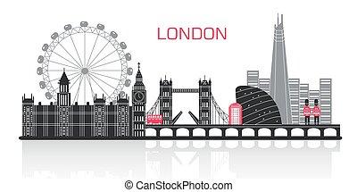 londra, silhouette, città