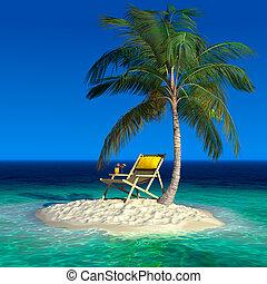 longue, isola, tropicale, piccolo, chaise, spiaggia
