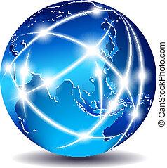 lontano, comunicazione, est, -, mondo