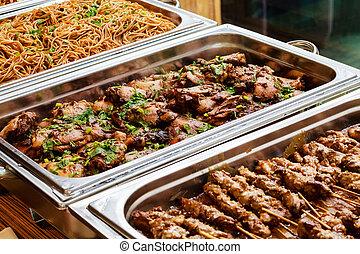 lontano, piatto cibo, ristorazione, buffet, asiatico, prendere