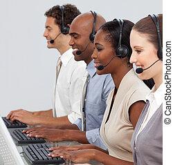 loro, affari, rappresentanti, computer, cliente