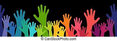loro, molte mani, su, persone, estensione