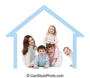 loro, proprio, casa famiglia, felice, concetto