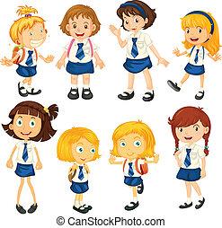 loro, uniforms, otto, schoolgirls