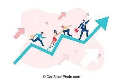 loro, vendite, opportunità, vettore, metaphor., appartamento, illustrazione, modo, schedule., lavoro squadra, affari, uomini affari, lavorativo, concept., su