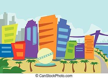 los, astratto, angeles, orizzonte, città, grattacielo, silhouette