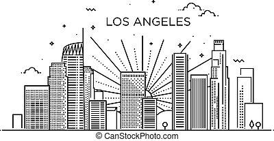 los, bandiera, angeles, art., linea, style., città, trendy, appartamento