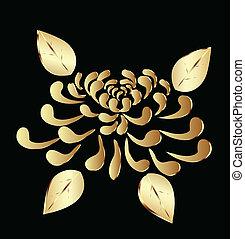 loto, dorato, fiore, logotipo