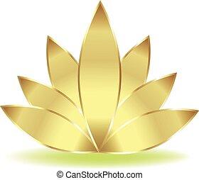 loto, logotipo, fiore, oro