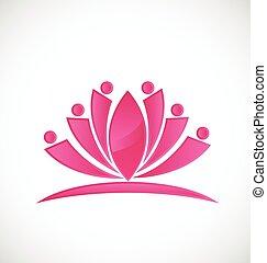 loto, logotipo, fiore, persone, icona
