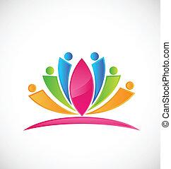 loto, logotipo, fiore, persone