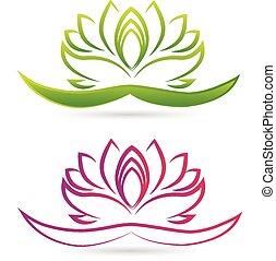 loto, logotipo, fiore, vettore