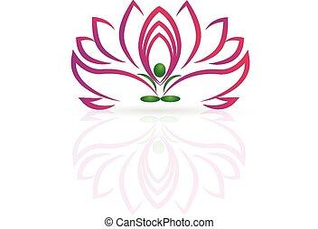 loto, logotipo, fiore, yoga