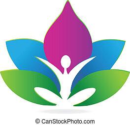 loto, logotipo, meditazione, yoga