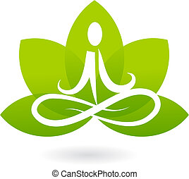 loto, logotipo, yoga, /, icona