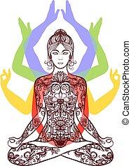 loto, meditare, asana, yoga, icona