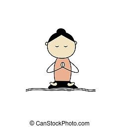 loto, yoga, donna, attivo, atteggiarsi