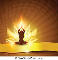 loto, yoga, fiore, -fire