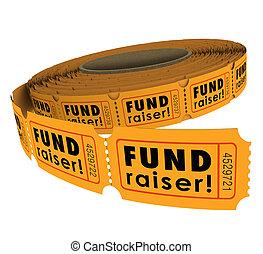 lotteria, rotolo, 50, cinquanta, fundraiser, lun, biglietto, evento, innalzamento, carità