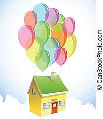 lotti, casa, vettore, balloons., colorito