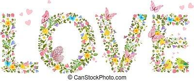 """""""love"""", primavera, lettere, volare, fiori, c, farfalle"""