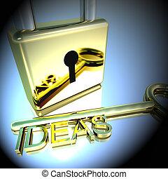 lucchetto, esposizione, idee, miglioramento, interpretazione, chiave, concetti, 3d