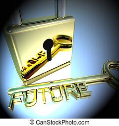 lucchetto, esposizione, interpretazione, auguri, chiave, futuro, speranza, 3d