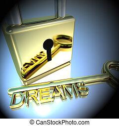 lucchetto, esposizione, interpretazione, auguri, fare un sogno, chiave, speranza, 3d