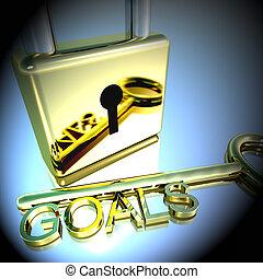 lucchetto, esposizione, interpretazione, mete, chiave, obiettivi, speranza, 3d