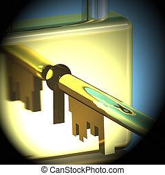 lucchetto, esposizione, interpretazione, protezione, closeup, chiave, sicurezza, 3d