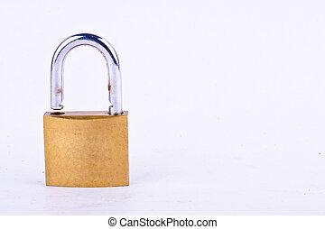 lucchetto, isolato, vecchio, maestro, chiave, o, attrezzo, bianco, ottone, fondo