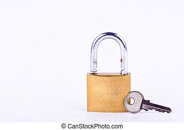 lucchetto, isolato, vecchio, maestro, chiave, o, attrezzo, sfondo bianco