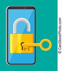 lucchetto, key., moderno, smartphone