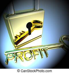lucchetto, profitto, esposizione, interpretazione, crescita, guadagni, chiave, 3d