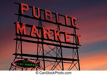 luccio, seattle, posto, mercato