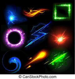 luce, ardendo, effetto