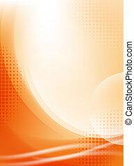luce, astratto, halftone, fondo, fluente, arancia