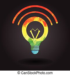 luce, astratto, illustrazione, bulbo