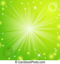 luce, astratto, magia, verde, fondo.